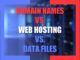 Domain names vs. Web Hosting vs. Data Files